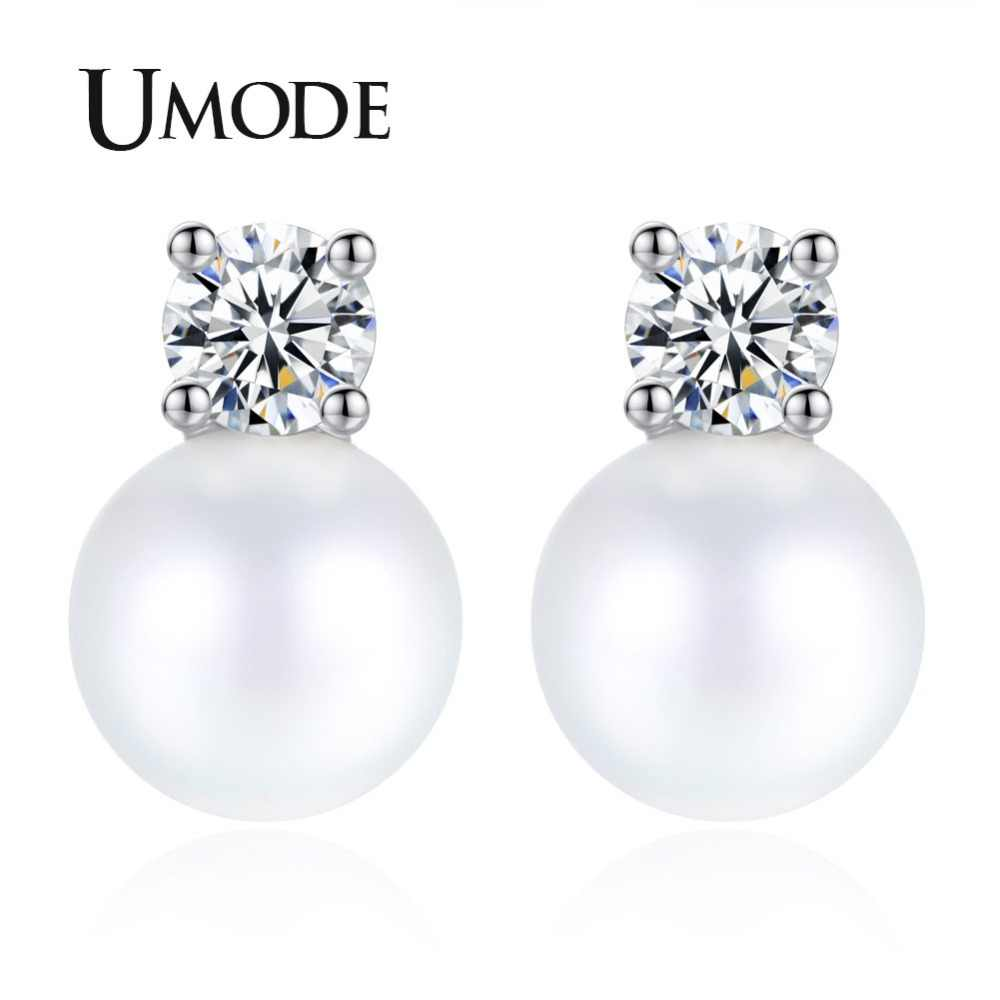 UMDOE New Fashion Pearl Jewelry Stud Earrings for Women White Gold Color CZ Boucle D'Oreille Femme Bijoux Christmas Gifts UE0342