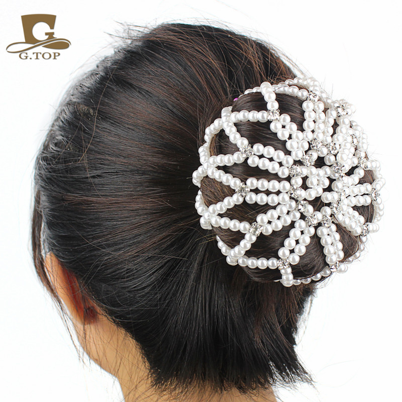 Lady Elastic hair net handmade crochet pearl hair Snood Net Ballet ...