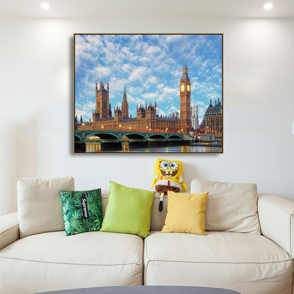 Laeacco London City Buildings Sky Poster Print Abstract Canvas Painting Unique Gift For Home Decor Living Room Bedroom Wall Art
