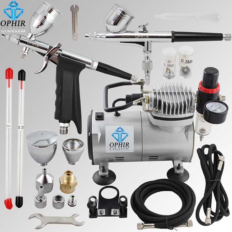 OPHIR 110V,220V 2 Double Action Airbrush & Compressor Kit Set Spray Gun Air Brush for Tattoo Nail Art Makeup Set_AC089+004+069 phir 2 airbrush kit 0 2mm 0 3mm dual action gravity paint gun compressor set for makeup nail art 110v 220v ac088 ac004 ac073