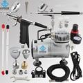 OPHIR 110V,220V 2 Double Action Airbrush & Compressor Kit Set Spray Gun Air Brush for Tattoo Nail Art Makeup Set_AC089+004+069
