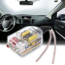 Car Speaker to RCA Level Adaptor High to Low Sockets Auto Line Out Audio Comverter Sound Subwoofer Amplifier Adjustable