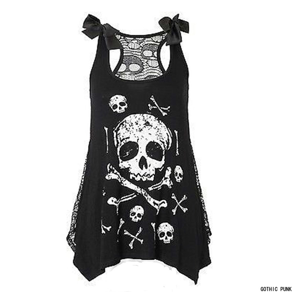 Robe gothique en dentelle pour femmes, noire, robe de rue, à nœud, imprimé 3D, crâne danimaux, Mini personnalité, Sexy