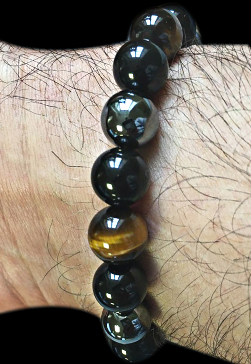 FLTMRH     Tiger Eye & Hematite & Black Obsidian 10mm Stone Bracelet Handmade DIY jewelry