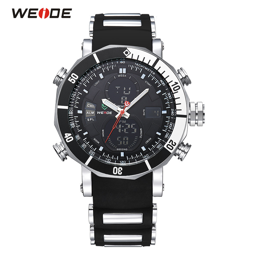 Original WEIDE Waterproof Sport Watch Men Digital Quartz Watch Black Dial Rubber Band Analog Military Wristwatches Montre Homme цена и фото