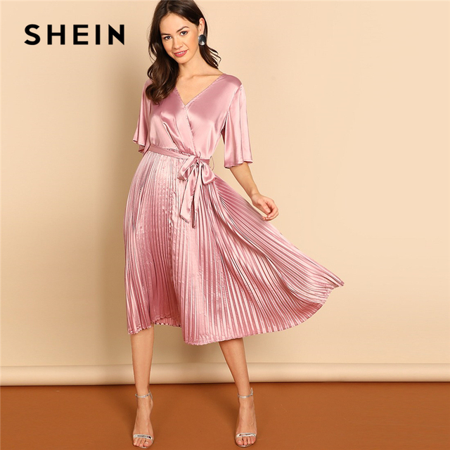 a55d881b67305 SHEIN Pink Party Solid Pleated Belted High Waist Wrap V Neck Long Sleeve  Dress Autumn Elegant Modern Lady Women Dresses