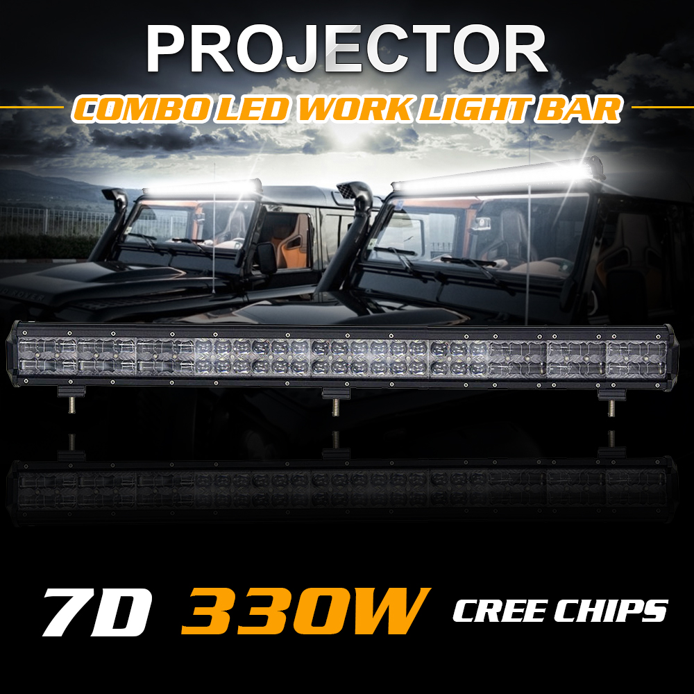 23 Inch 240W 31 Inch 330W External Lights 7D Cree Chips Offroad LED Work Light Bar 12V 24V For Ford Toyota Honda Lada Nissan BMW