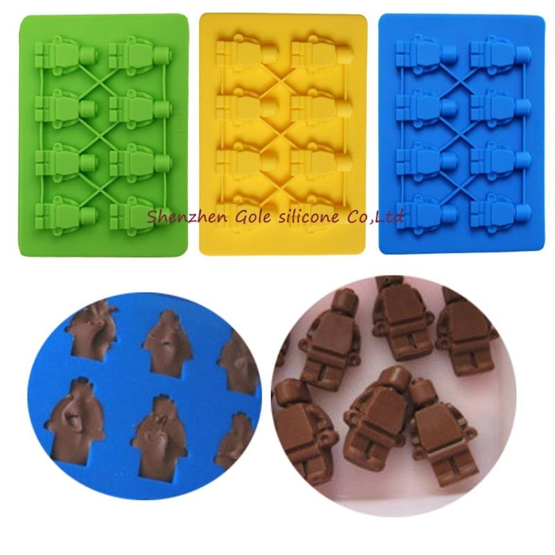 200pcs 7 style Silicone toy Brick & Minifigure Man Robot shape ilicone Fandont Chocolate Mold Ice Cube Ice Trays Baking Pan