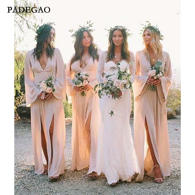 Simple Long   Bridesmaids     Dresses   Long Sleeveless Customized Chiffon V-Neck   Bridesmaids     Dresses   Prom Custom Made