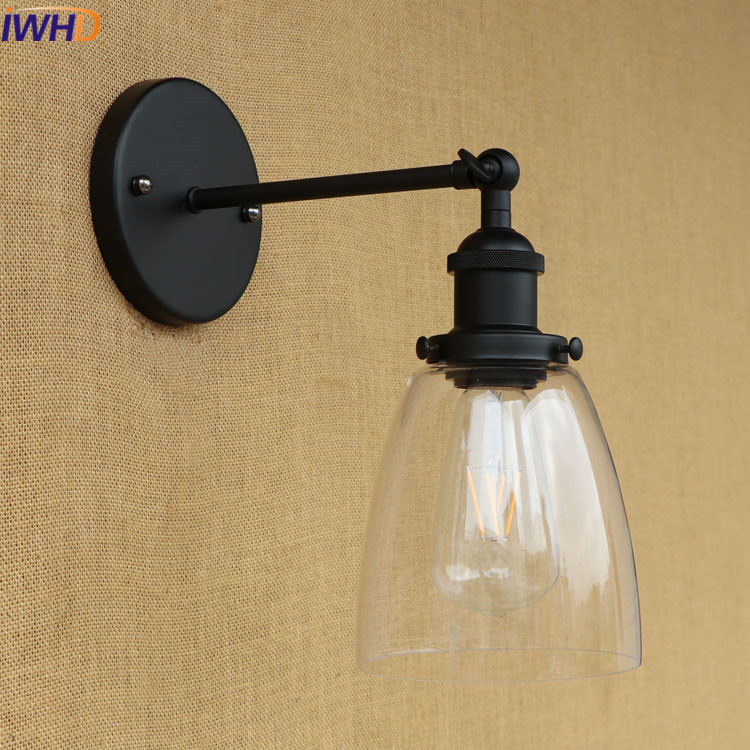 IWHD Loft Industrial LED Wall Lamp Retro Glass Iron Sconce Edison Led Wall Light Black Lighting Stairs Arm Sconce Wandlamp glass wooden arm retro vintage wall lamp led edison style loft industrial wall light sconce home lighting appliques pared