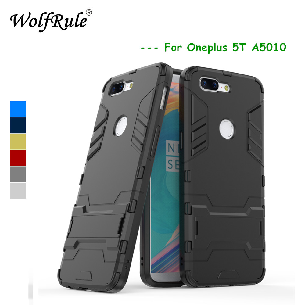 WolfRule Oneplus 5T Cases Oneplus 5 T Case Cover Soft Silicone +Plastic Kickstand Back Case For Oneplus 5T Coque A5010 Funda image