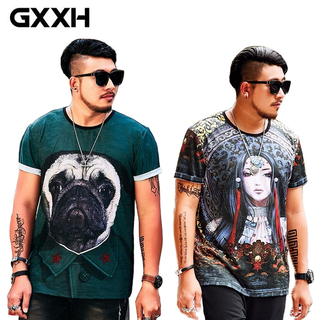 11543b06360 GXXH Brand Fat Guy Summer Short Sleeve Men T-shirt Polyester with  Fertilizer XXL-7XL Oversized Men Big Size Printed Male T-shirt