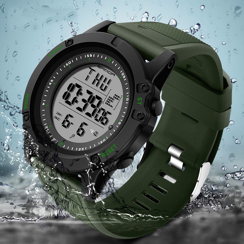 Сандалии спортивные часы Для мужчин лучший бренд класса люкс электронные военные наручные светодиодный цифровые наручные часы для мужской...