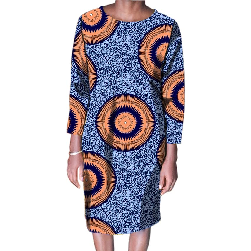 2018 Femmes Mode Africaine Imprimer Robes Des Fêtes Africain Imprimé Robes Dames Costume Fait Dashiki Femmes Vêtements Personnalisés - 4