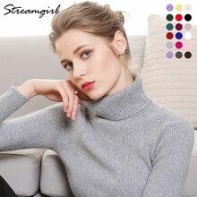 Pull à col roulé en cachemire pour femme, vêtement tricoté chaud, collection dame, hiver 2019