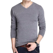2019 fashion male quality slim high-grade pure cotton Set head knitted sweater/Male fashion leisure v-neck knit shirt