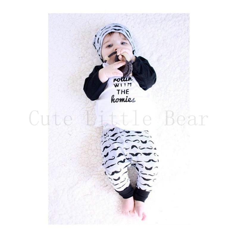 2Pcs Newborn Baby Outfits full sleeve+pants Sets Toddler Children Clothing Sets Lovely Lettern Patterns Kids Boys Girls Sets