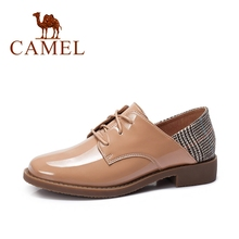 CAMEL New Genuine Leather Women Low Heel Single Shoes For Ladies Oxford British Retro Pumps Fashion Dress Casual  Shoes Women