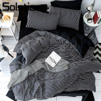 Solstice Home Textile Black White Stripe Brief Bedding Set Boy Kid Girls Adult Linen Soft Duvet Cover Pillowcase Bed Sheet Queen