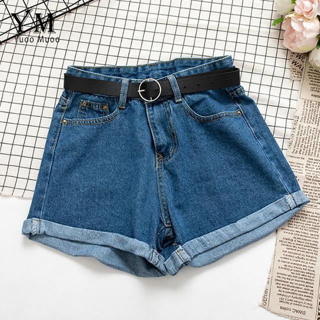 YuooMuoo All Match Sashes Casual Women Denim Shorts Crimping High Waist Slim Summer Jeans Shorts Feminino Chic Hot Ladies Bottom 2