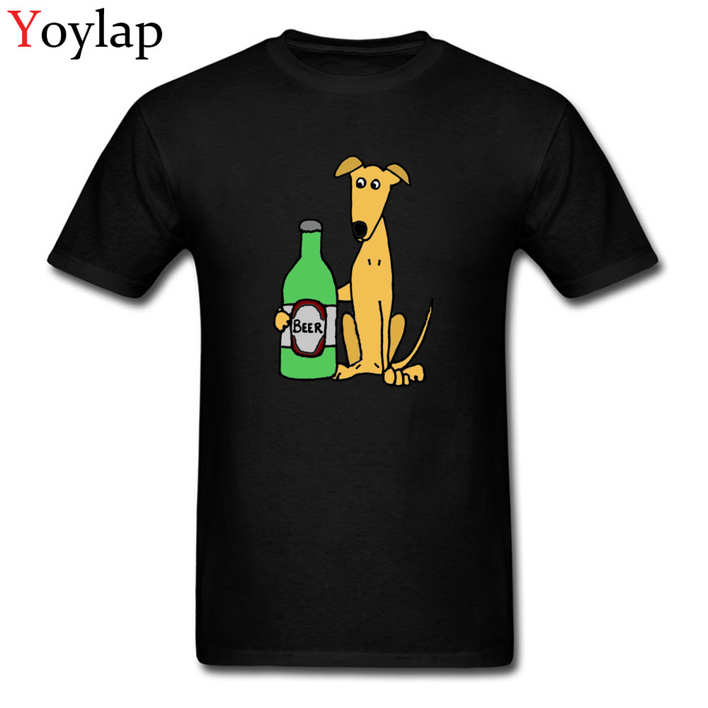 New Arrival Greyhound Dog With Large Beer Print Funny Tee Shirt Men Short Sleeve T Shirts XL Cartoon Design