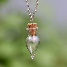Charm Teardrop Glass Bottle Necklace Fashion Handmade DIY Dandelion Pendant Necklace For Women For Gift(China)