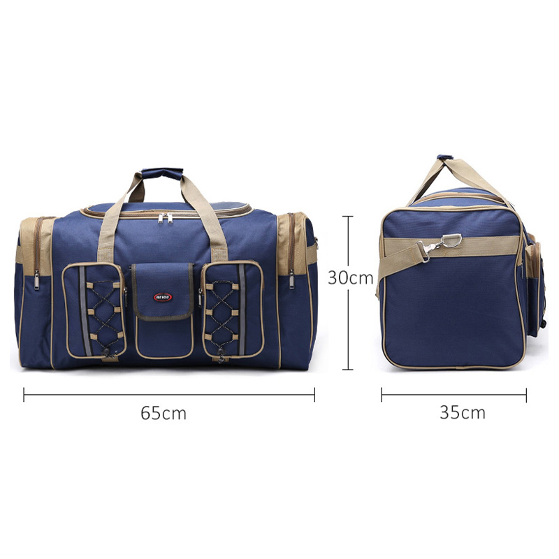 Image 2 - Thick Canvas Casual Duffle Bag Waterproof Mens Travel Bags Long Strap Anti scratch Multi pocket Large Capacity Handbags L468-in Travel Bags from Luggage & Bags