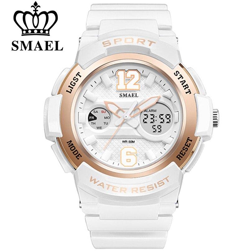 SMAEL Reloj de Mujer de marca de Moda de lujo Casual relojes mujer Vestido de cuarzo relojes deportivos de cuero Señora Digitalwristwatch Chica Reloj