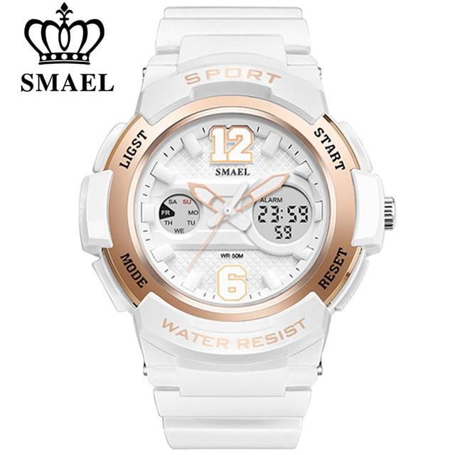 Smael часы женские брендовые Роскошные модные повседневные кварцевые часы кожа леди спорта Relojes Mujer платье digitalwristwatch девушка часы