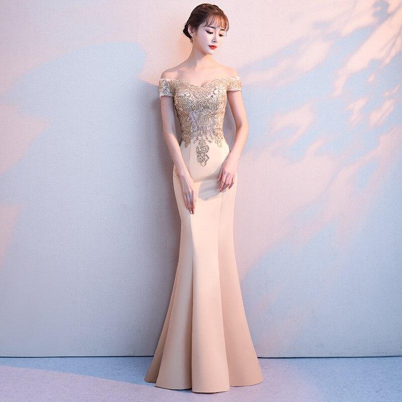 Robe De soirée Sexy Banquet élégant étage longueur sirène Robe De soirée Appliques perles Robe De bal mariée longues robes De soirée