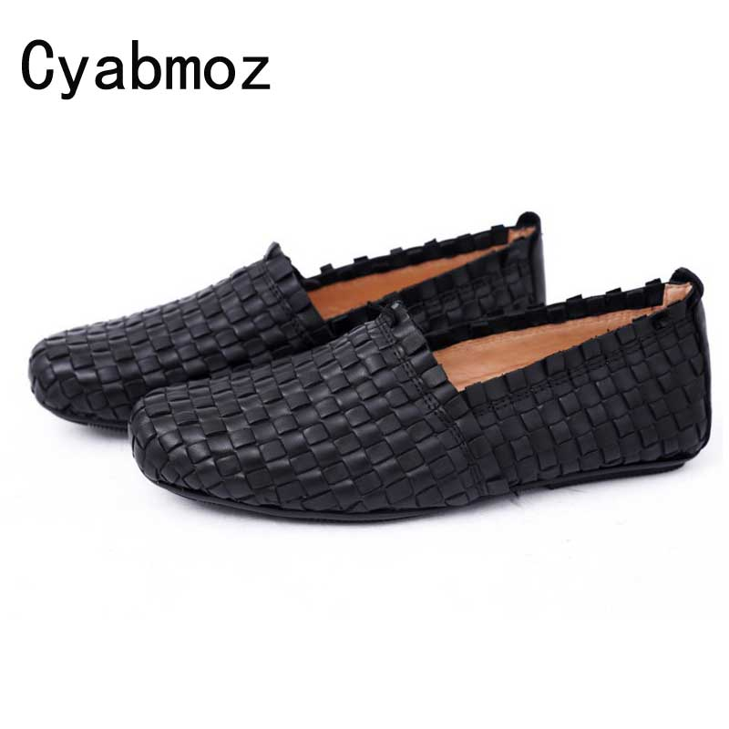 Cyabmoz Man Genuine Leather Flats Casual Shoes Woven Weaving Retro Men Shoes Real Leather Breathable Driving Boat Shoes Loafers us6 11 big size 11 new spring breathable real leather men casual loafers boat shoes man driving shoes 7 colors orange green