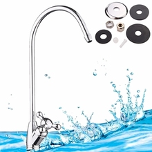 "Xueqin 1pc 1/4"" Reverse Kitchen Faucet Gooseneck Type Kitchen Water Tap Chrome Plated Finished Water Filter Faucet"