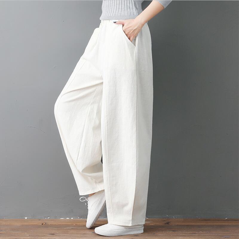 Large Size 6XL 7XL Women Summer Casual Loose Long Pants Autumn High Elastic Waist Cotton Linen Wide Leg Pants Lantern Trousers