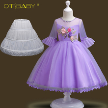 2-14 Years Kids Floral Dresses for Girls Birthday Party Ball Gowns Teenage Tulle Tutu Wedding Prom Dresses Child Girl Clothing bbwowlin baby girl dresses suits for 0 2 years kids christmas birthday party 9071