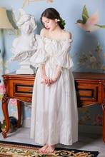 LYNETTE'S CHINOISERIE Spring Autumn Women 100% cotton embroidered elegant vintage original design fairy full dress