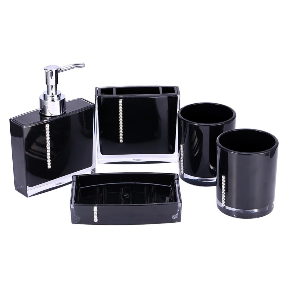 5pcs/set Acrylic Bath Cup Bottle Toothbrush Holder Soap Dish Kit Bathroom Tools Accessories
