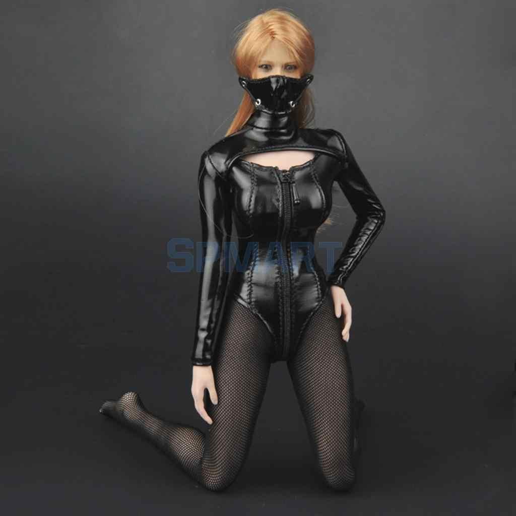 1/6 스케일 여성 섹시한 가짜 가죽 란제리 세트 의류 정장 + 12 인치 HT CG Phicen 액션 피겨 바디에 대한 하이힐 장난감