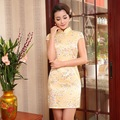Traditional Printed Flowers Chinese Female Satin Cheongsam Vintage Button Qipao Summer Sexy Short Mini Dress S M L XL XXL
