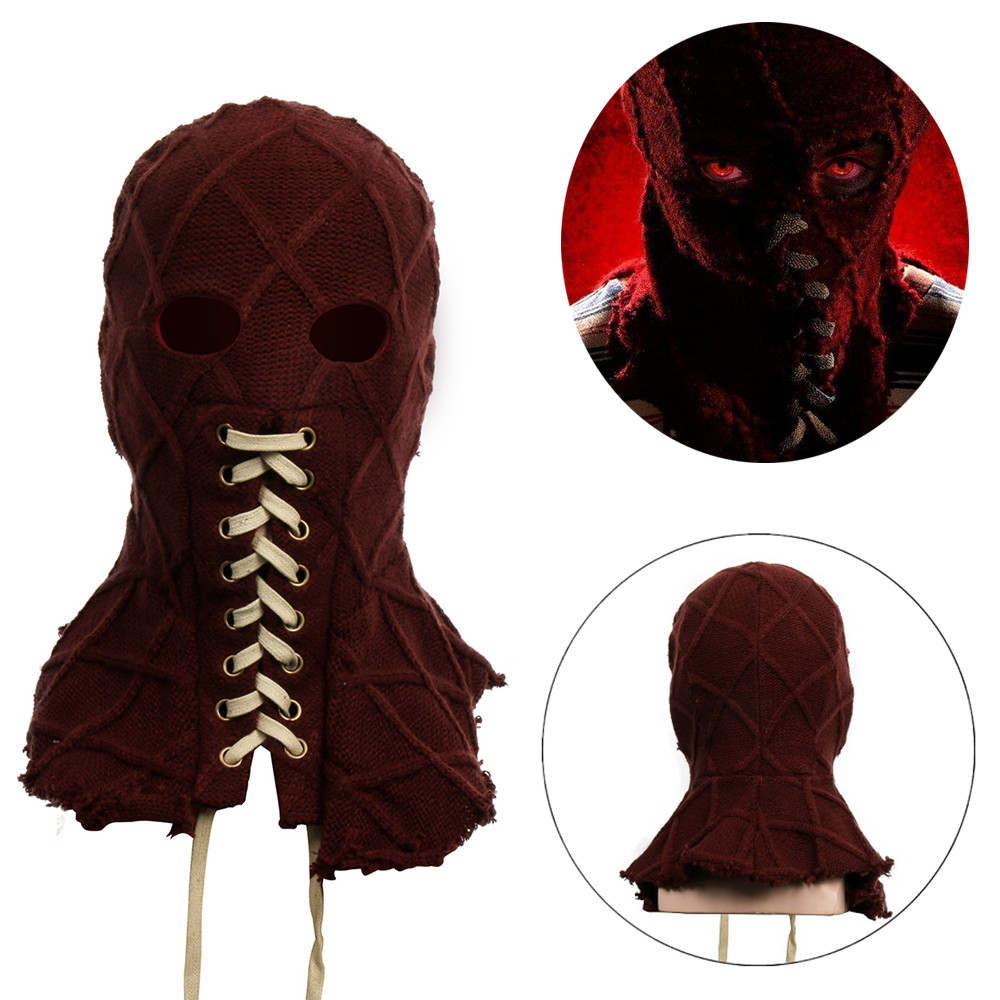2019 Movie BrightBurn Cosplay full Head Mask Red Hood Cosplay Scary Horror Creepy knitted Face Breathable Mask Halloween Props