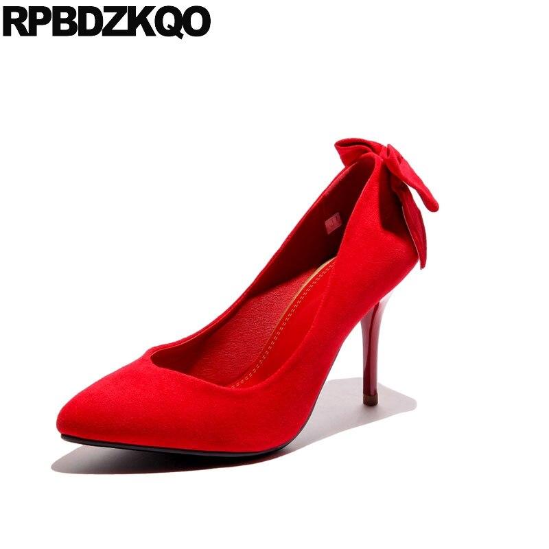 Moyen Pompes 2018 Bout 34 Femmes 3 Mariage Talons Hauts 5cm 9cm De 4 Automne Pouces Red red red Mariée Chaussures Rouge Scarpin Stiletto Taille Arc Suede 7cm Pointu q1YdnI6Ox