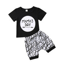 74a41b5fe75fe Emmababy Cute Infant Baby MAMAS Boy letter black T-shirt Tops+Pants Outfit baby  boy Clothes Set cotton summer baby boys clothing