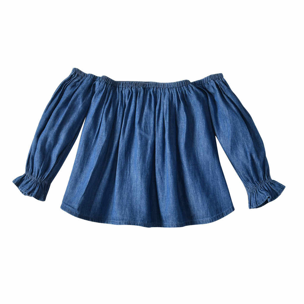 2019ARLONEET NEWEST lovely baby girls Toddler Baby Girls Off Shoulder Solid Tops + Bell-Bottomed Pants Outfits Set Z0213