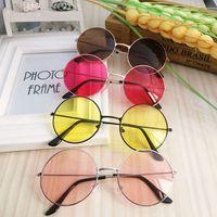 Retro Round Sunglasses Women Brand Designer Sun Glasses For Women Alloy Mirror Sunglasses female Candy Colors free shipping Women's Sunglasses