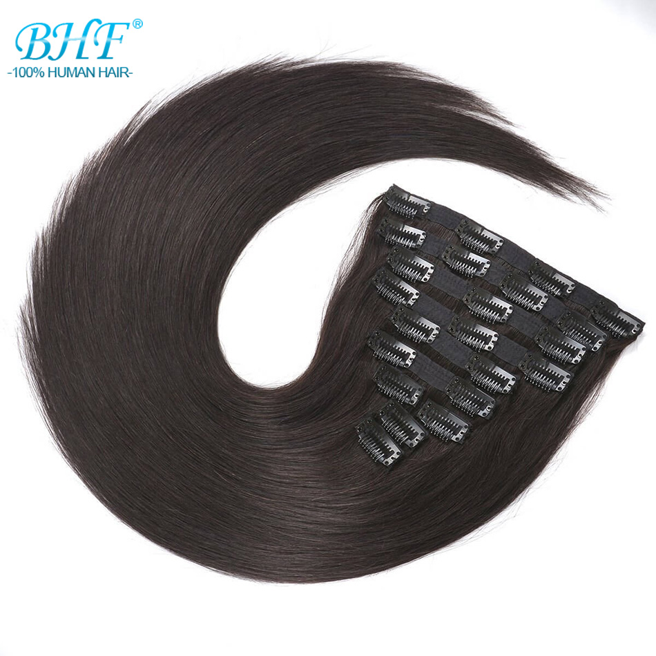 BHF Clip In Human Hair Extensions Machine Made Remy Straight Full Head 100 Brazilian Natural Hair