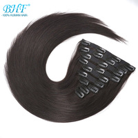 BHF Clip In Human Hair Extensions Machine Made Remy Straight Full Head 100% Brazilian Natural Hair Clip ins 120G 140G 160G 200G
