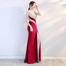 Винно-красное сексуальное вечернее платье с блестками и бусинами, женский сарафан, Длинные вечерние платья с поперечным разрезом, свадебные чонсам, Восточный стиль