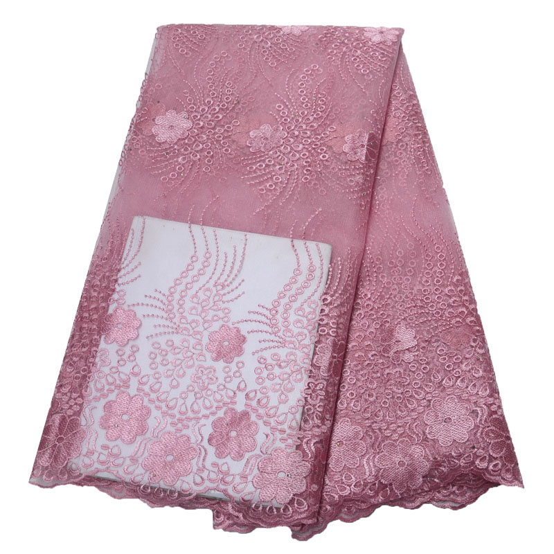 African Lace Fabric Pink Color High Quality Nigerian mesh Laces Fabrics For Women Hot Selling French Mesh Lace Fabric HX1559 2 in Lace from Home Garden