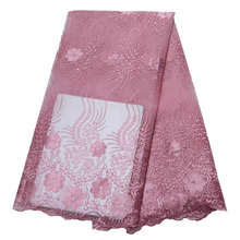 African Lace Fabric Pink Color High Quality Nigerian mesh Laces Fabrics For Women Hot Selling French Mesh HX1559-2