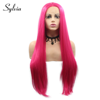 Sylvia Rose Pink Silky Straight Synthetic Lace Front Wigs Middle Part 180% Density Natural Heat Resistant Fiber Hair