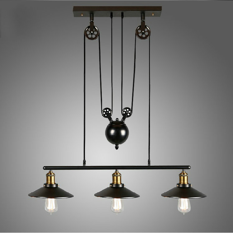 цены Pulley Pendant Lamp Light Retro Loft Vintage Industrial Pulley Pendant Lamp Industrial Home Lighting Fixture E27 Edison bulbs